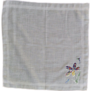 White Cotton Handkerchief with Multi Colored Flower