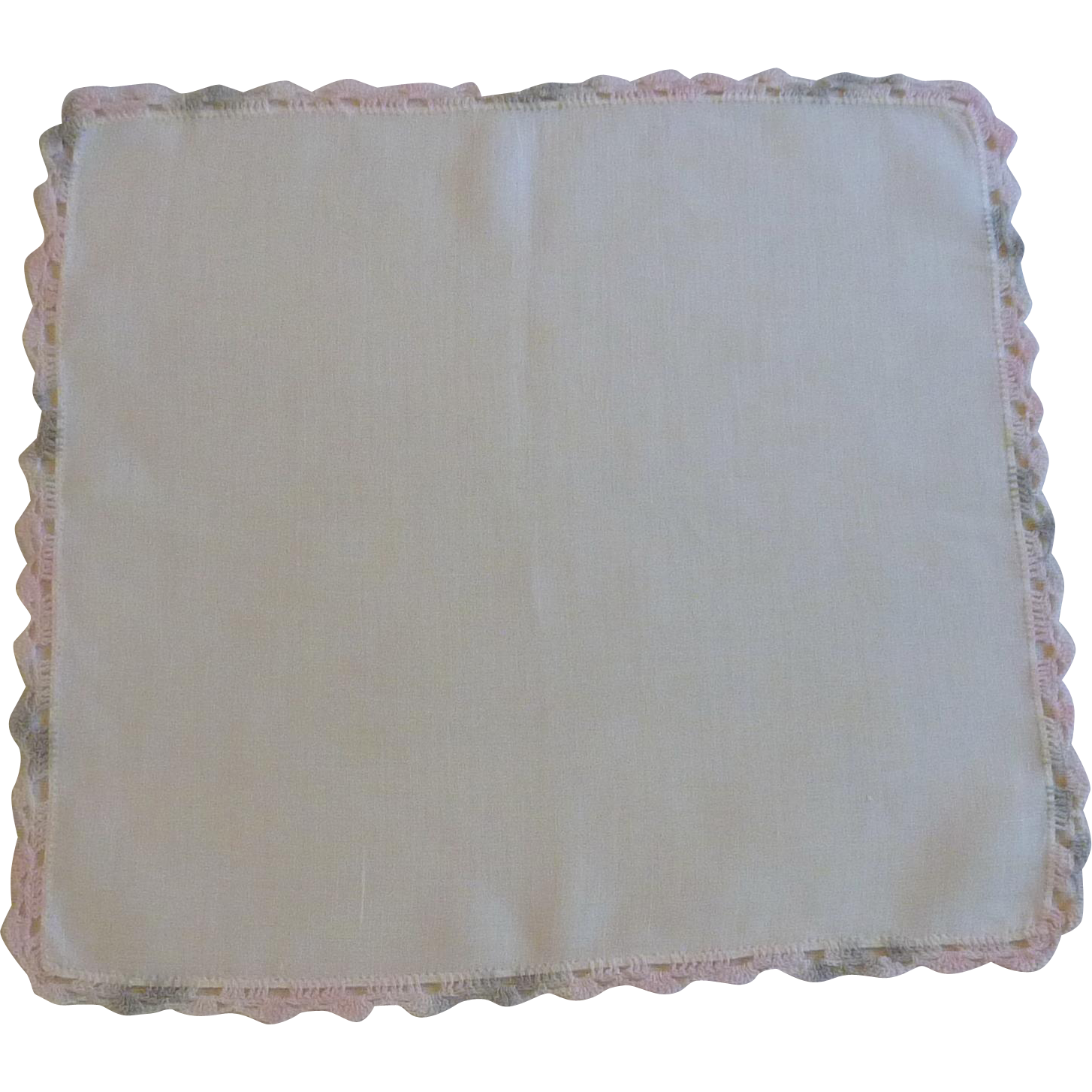 Grey Pink Tatted Border on White Linen Handkerchief