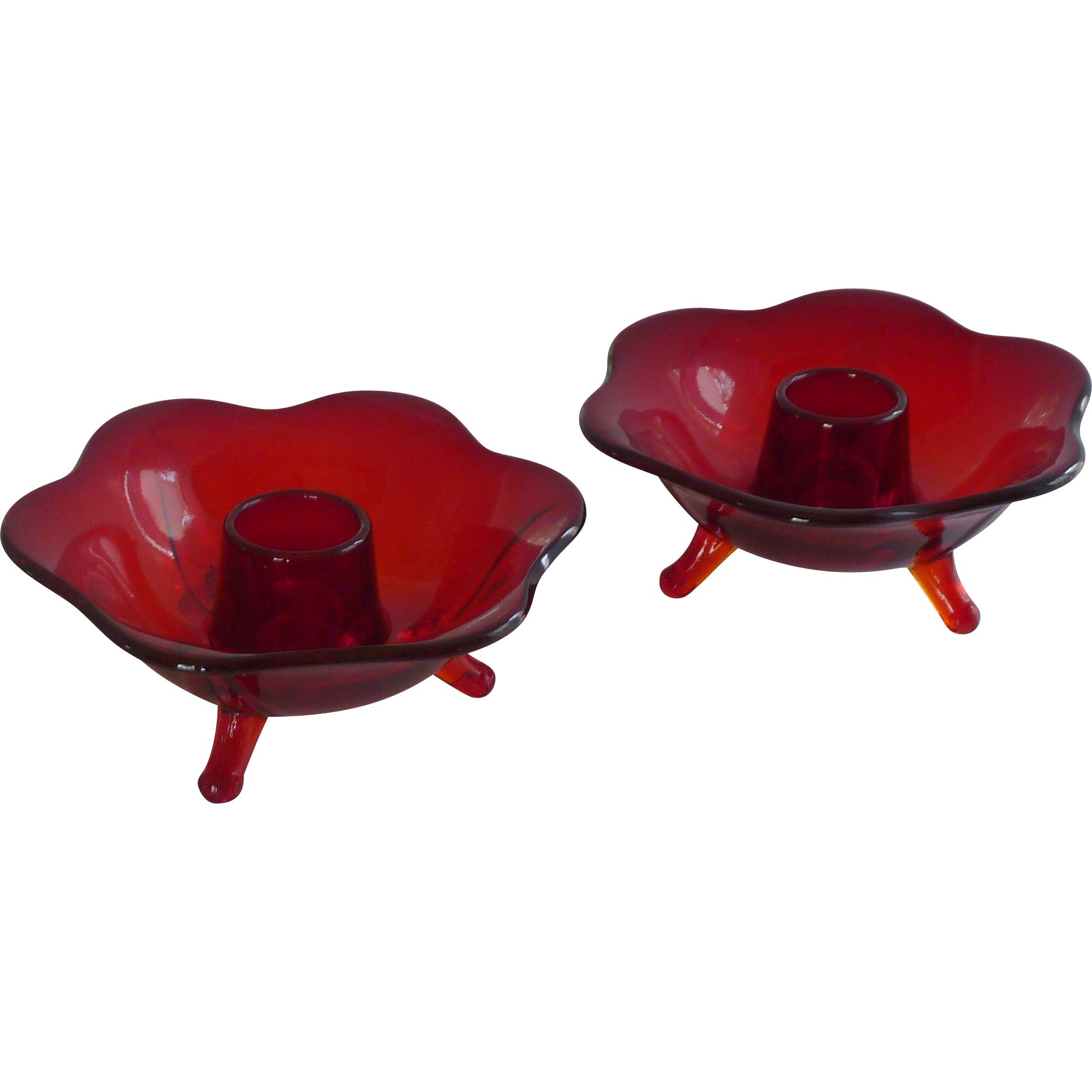 Fenton Ruby Red Lotus Candle Stick Holders