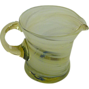 Yellow  Art Swirl Hand Blown Small Cream Pitcher
