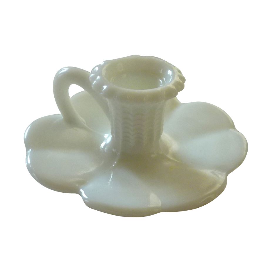 Milk Glass Handled Candle Holder