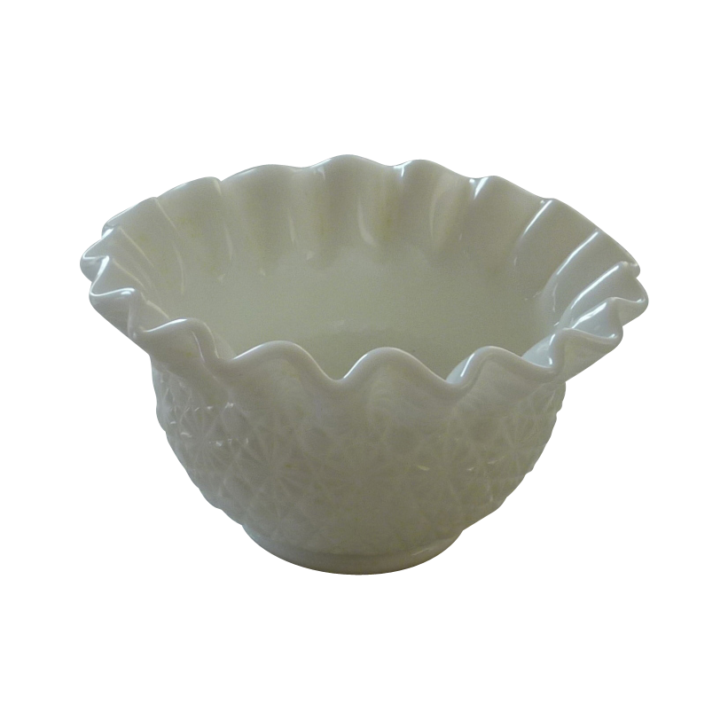Milk Glass Daisy and Button Smith Heritage Ruffled Bowl