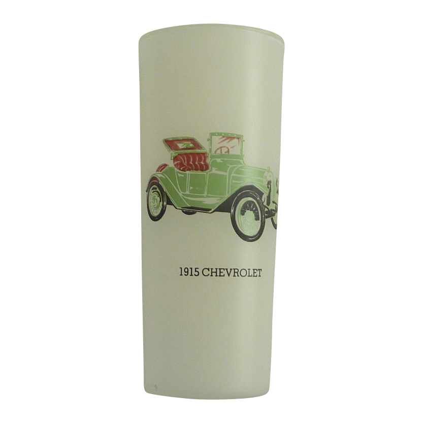 Frosted Vintage 1915 Chevrolet Car Drinking Glass