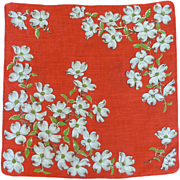 Red Handkerchief with White Apple Blossoms