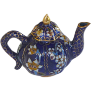 Pumpkin Shape Cobalt Blue Cloisonne Cloisonné Teapot