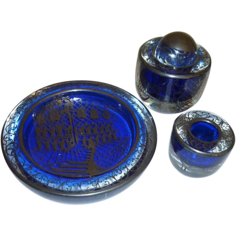 Cobalt Blue Murano Venetian Glass Desk Set