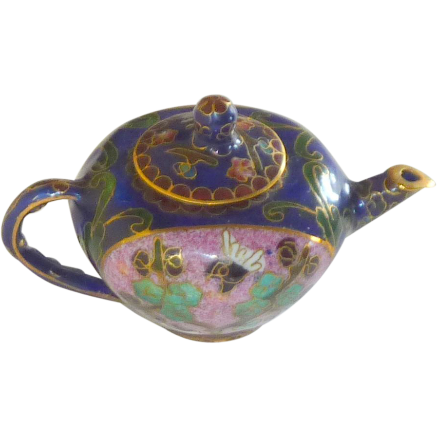 Miniature Asian Cloisonné CloisonneTea Coffee Pot