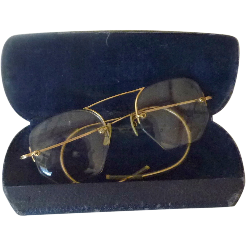 Rimless Glasses Old : Old Vintage Eye Glasses GF Rimless from rarefinds on Ruby Lane