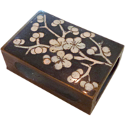 Cloisonné Cherry Blossoms Match Safe Brass Box