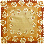 Orange Rose Flower Handkerchief Hanky