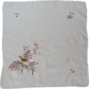 White Cotton Handkerchief with Embroidered Bird and Flowers