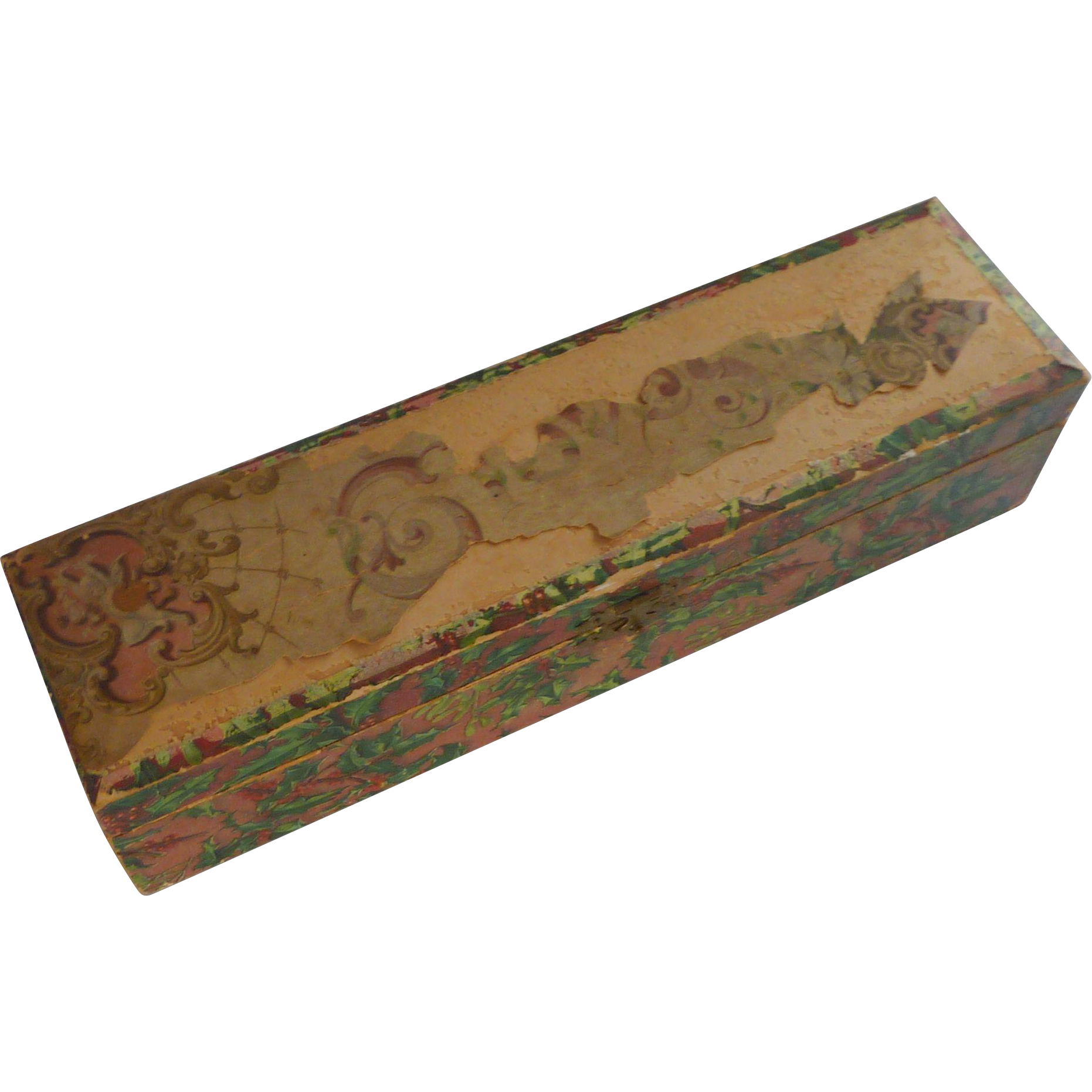 Vintage Glove Box with Holly Paper and Brass