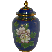 Blue Cloisonné Enamel Brass Jar with Lid