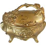 Gilded Art Nouveau Metal Casket Repoussé Jewelry Box
