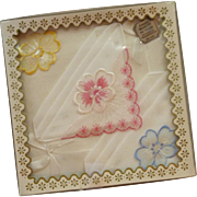 3 Cotton  White Handkerchiefs in Original Box