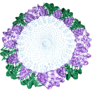 Large Round Doily with Purple Grapes and Green Trim