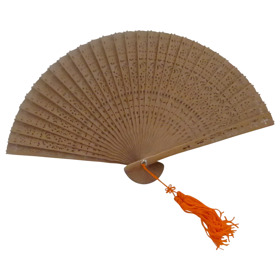 Beautiful Brown Cut Work Hand Fan in Box