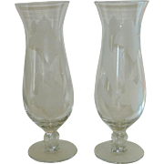 Clear Etched Daffodil Jonquil Flower Vase Set