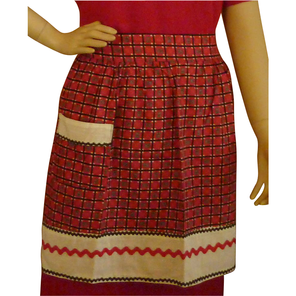 Red Black and White Rick Rack 1950's Cotton Apron