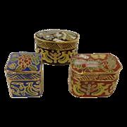 3 Miniature Cloisonné Boxes Containers