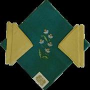 Kelly Green Linen Bucilla Tablecloth and Yellow Napkins