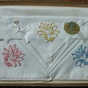3 Vintage Flower Handkerchiefs Cotton Made in USA