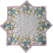 Eight Pointed Bouquet of Flower Border Handkerchief