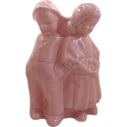 Pink Boy and Girl Figural Planter Vase