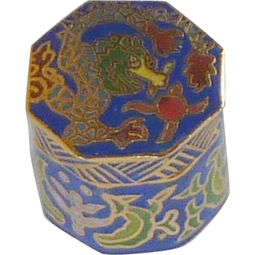 Blue Eight Sided Cloisonne Miniature  Keepsake Cylinder Box