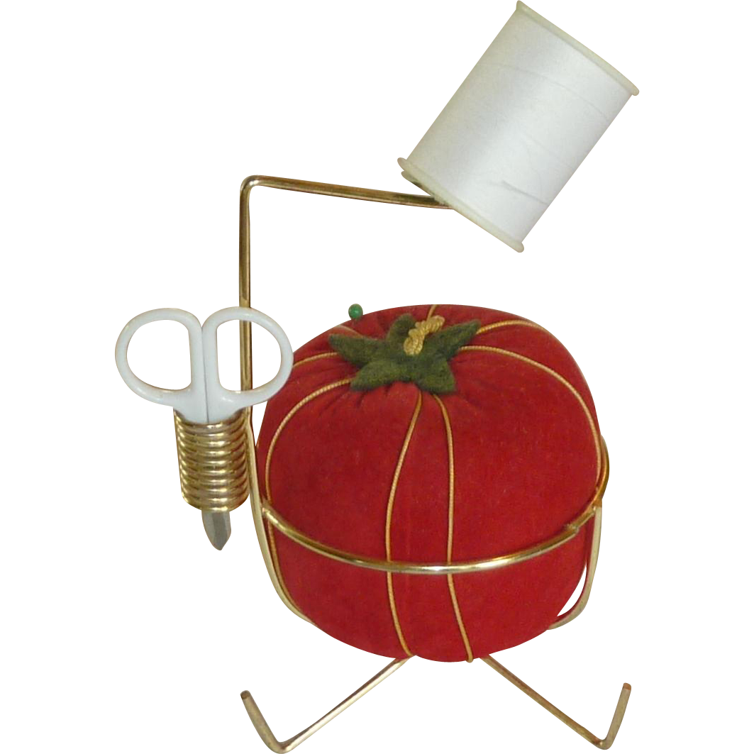 Large Red Tomato Pin Cushion and Pin Cushion Holder