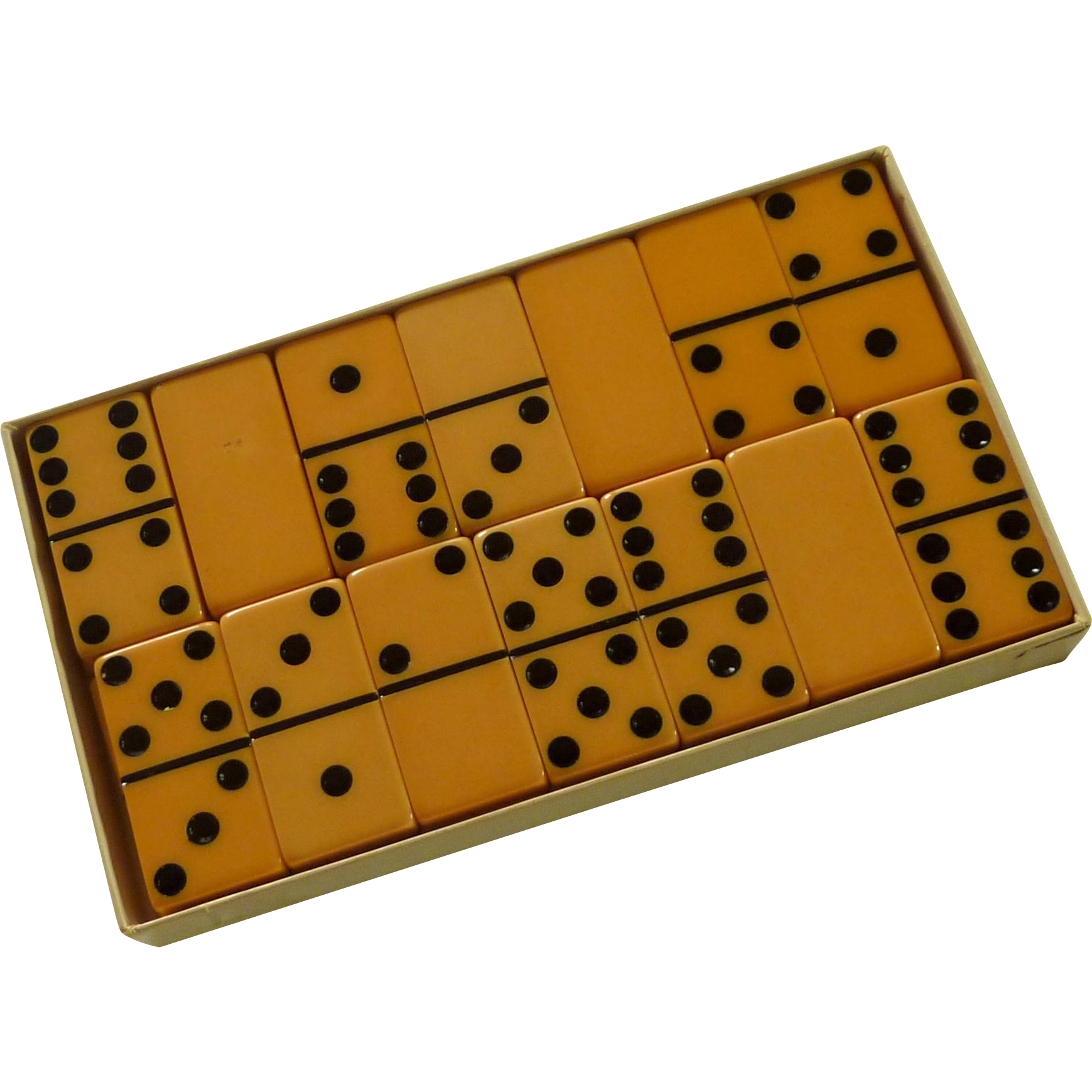 Butter Scotch Yellow Extra Thick Marblelike Dominoes Game Set / Box