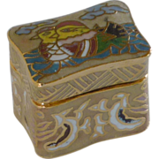 Tan Cloisonne Miniature Keepsake Rectangular Box