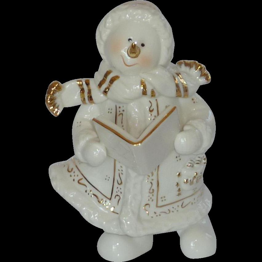 Christmas Caroling Snowman Girl Figurine