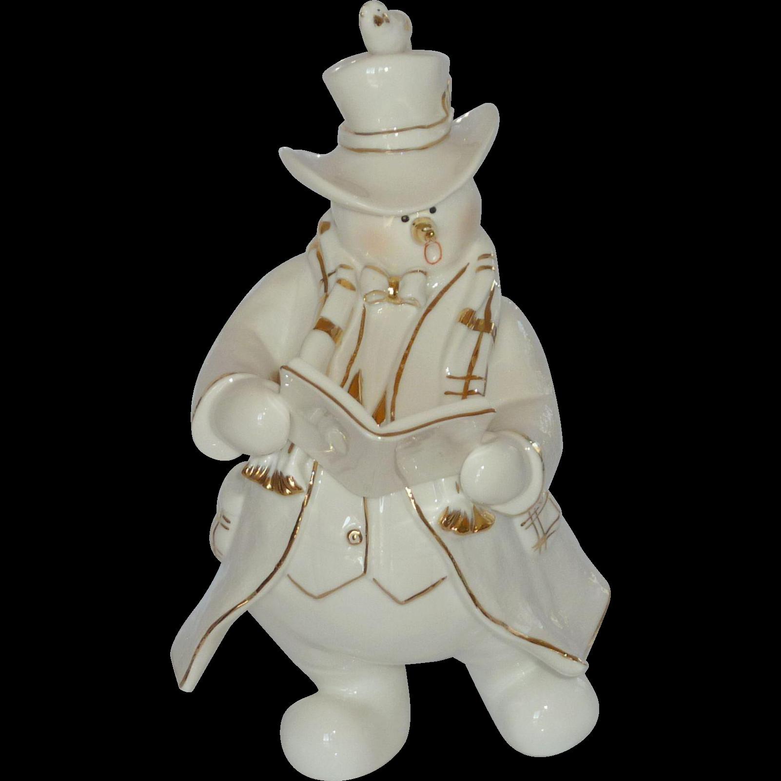 Christmas Caroling Snowman Figurine