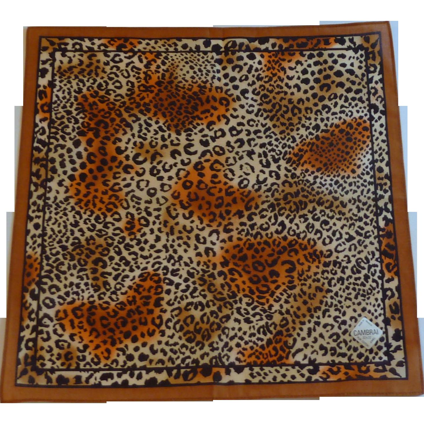 Leopard Brown Black and Orange Hanky Handkerchief