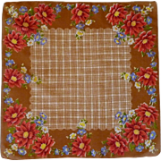Butterscotch Brown with Red Flower Handkerchief