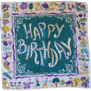 1950's Signed Carl Tait Happy Birthday Handkerchief