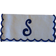 Cloth Envelope Jewelry / Hankie Bag  Initial S