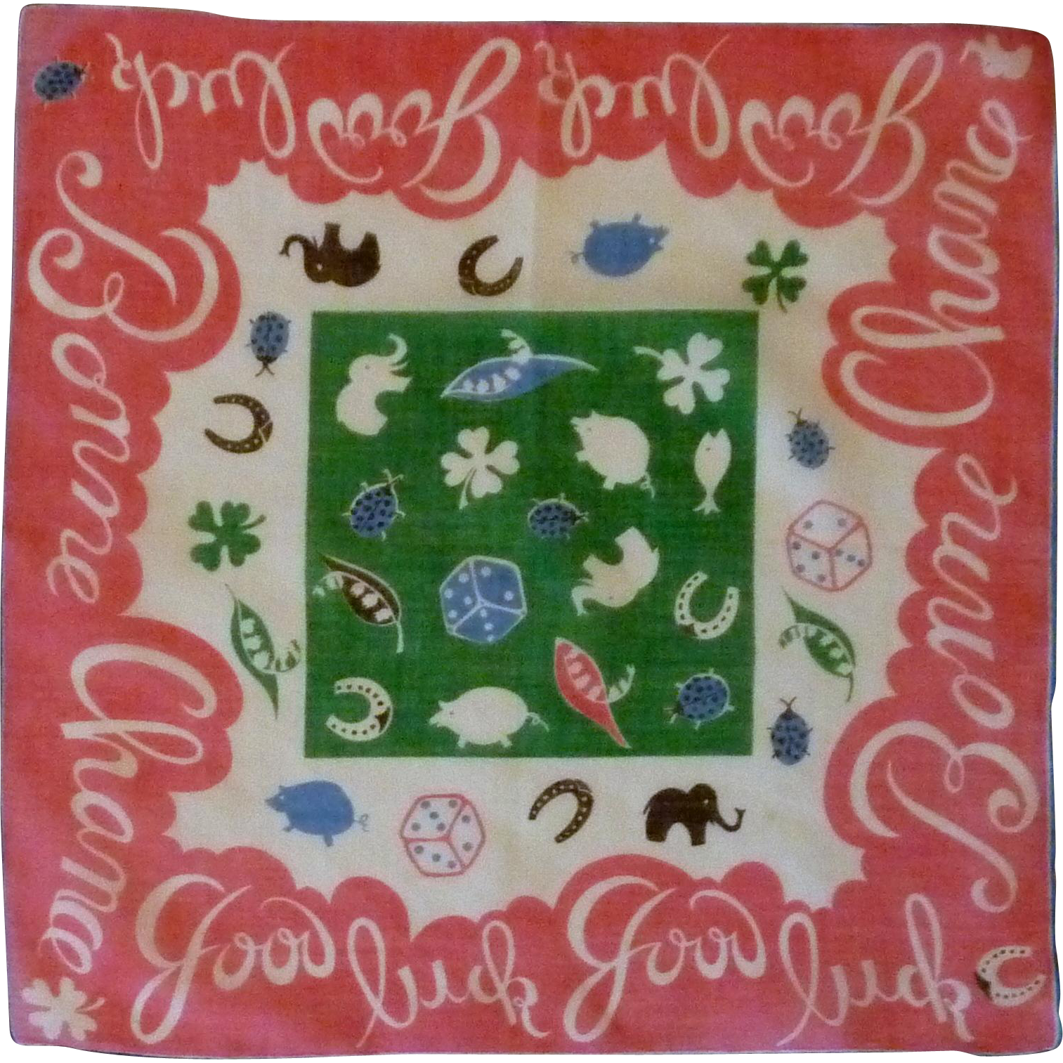 1950's Cotton Good Luck Handkerchief