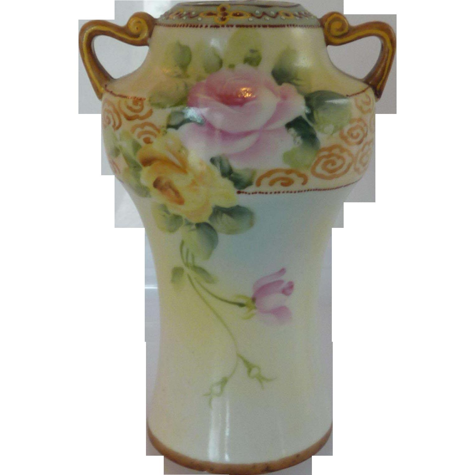 Bibi Hand Painted Nippon Vase Urn 1930's