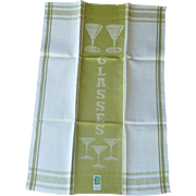 Avocado Lime Green Dish Towel  with Martini Glass Design
