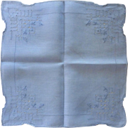 Periwinkle Blue Drawn Work Handkerchief Hanky