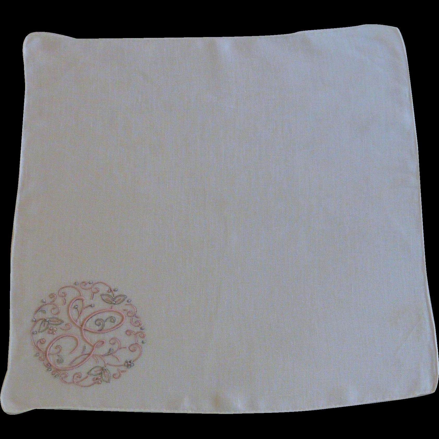 Pink G Initial White Handkerchief Hankie Hanky