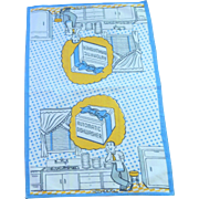 "1950's Dish / Hand Towel  ""Automatic Dishwasher"""