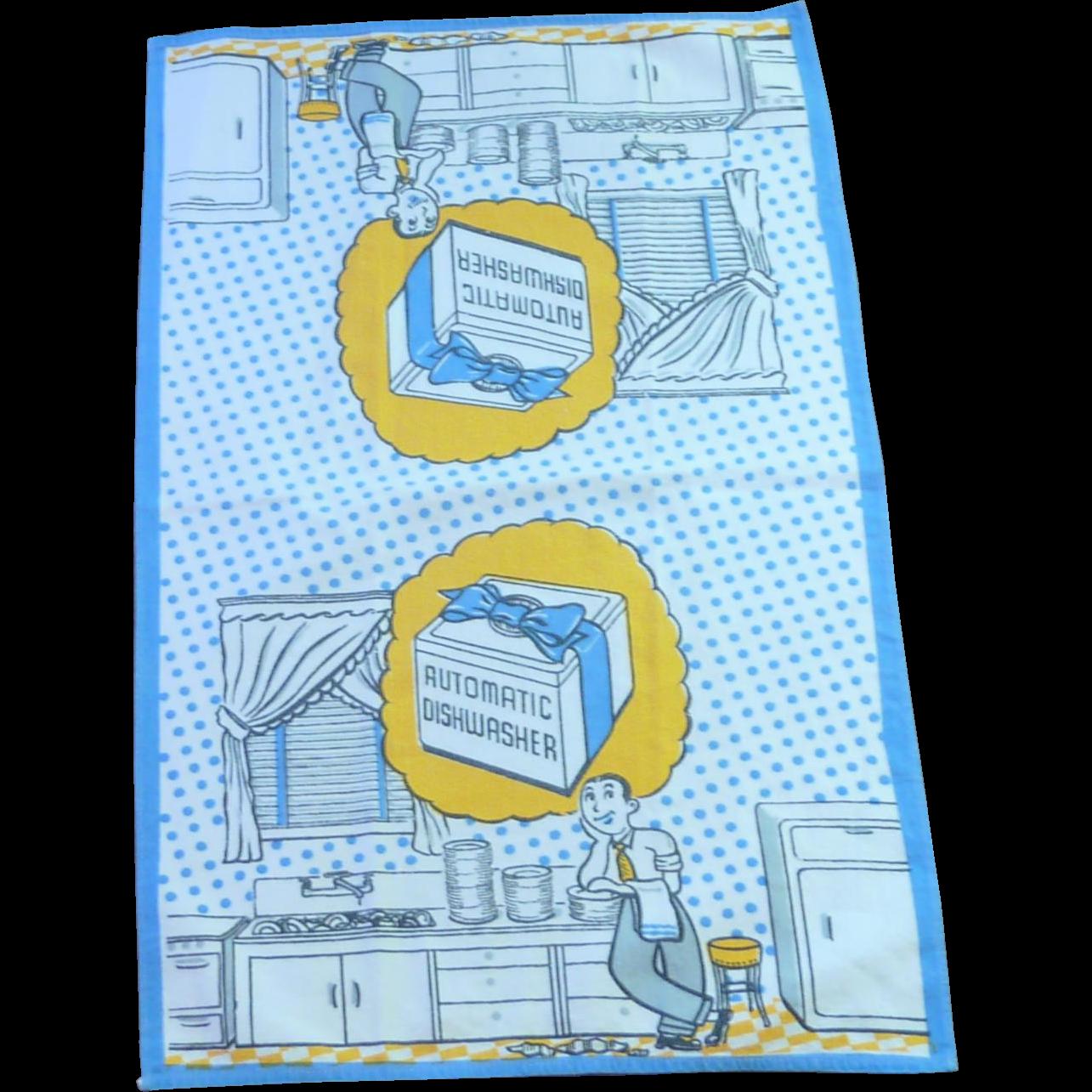 """1950's Dish / Hand Towel  """"Automatic Dishwasher"""""""