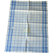 Blue and White Window Pane Linen Cotton  Dish Towel