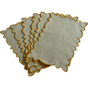 White Linen with Yellow Gold Trim Cocktail Napkins