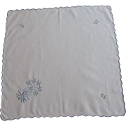 White with Baby Blue Crewel Embroidered Flowers and Design