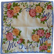 Tea Roses and Daisy Handkerchief Kimball