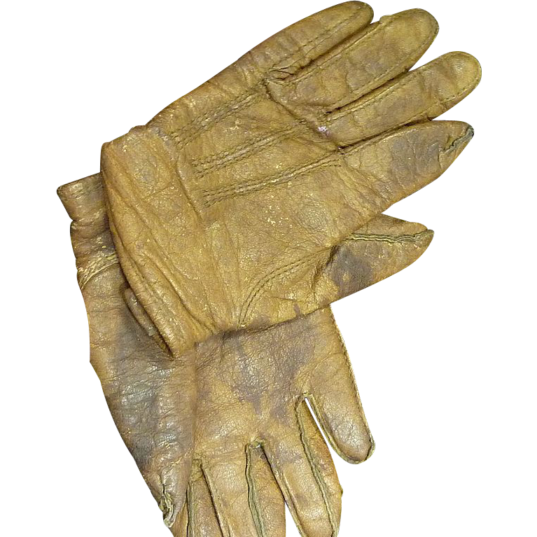 Vintage Brown Leather Child's Gloves